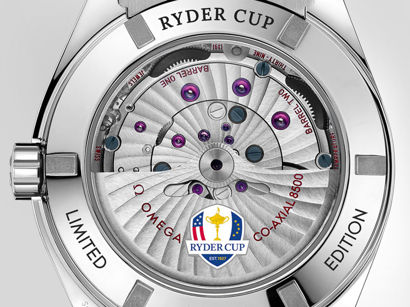 "Back view of the Seamaster Aqua Terra ""Ryder Cup"" where the words ""RYDER CUP"" and ""LIMITED EDITION"" are engraved"
