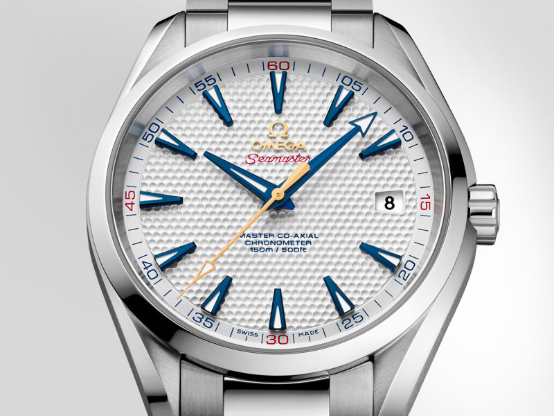 "The Seamaster Aqua Terra 150M ""Ryder Cup"" Limited edition with its stainless steel case, the golf ball inspired white dial and the blue hands"