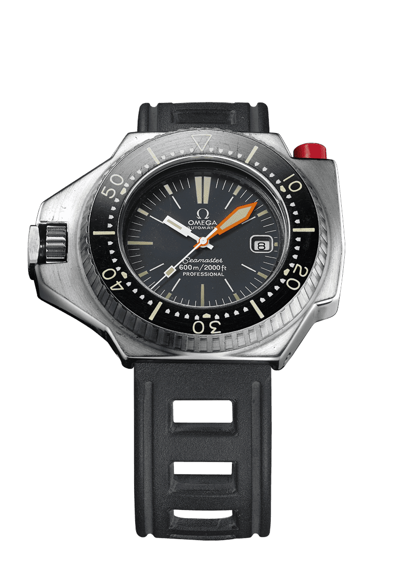 Ploprof Omega watch in 1970 with black bezel