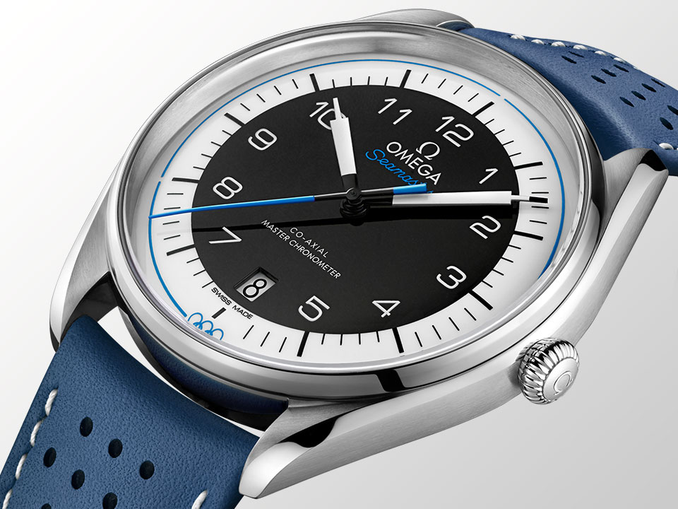 SEAMASTER OLYMPIC GAMES watch with black dial and blue strap