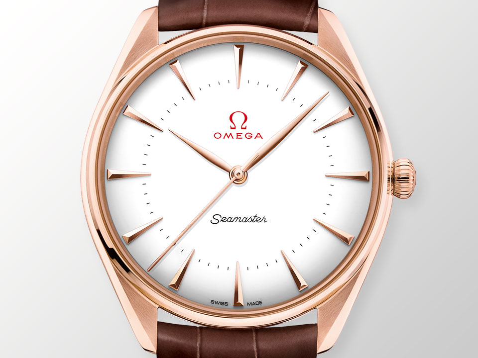SEAMASTER OLYMPIC GAMES GOLD COLLECTION with a pink gold bezel and leather strap