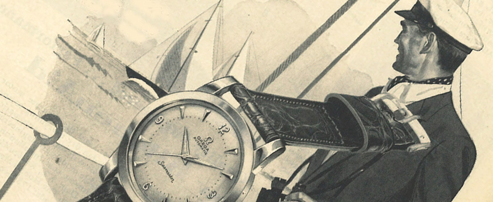 Drawing of a sailor watching boats and a Seamaster watch in the foreground
