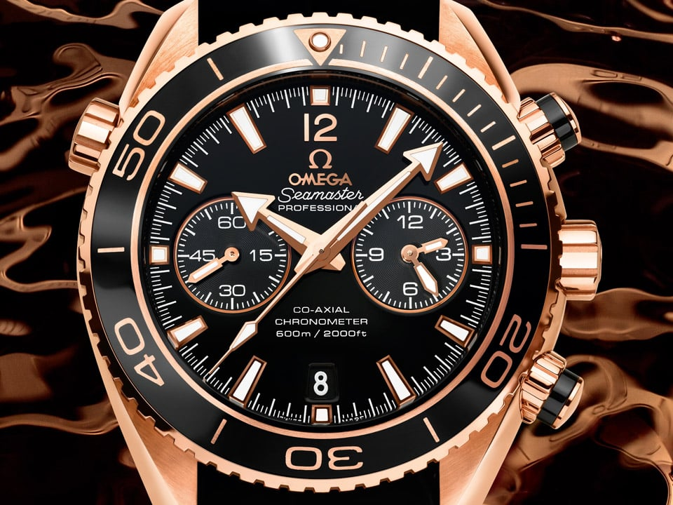 OMEGA Seamaster Planet Ocean 600M Chronograph Ceragold watch with complications