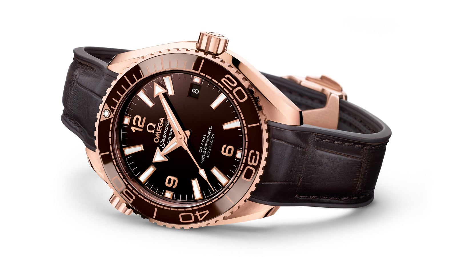 Omega Seamaster Planet Ocean 600 M with Sedna gold case and brown leather strap