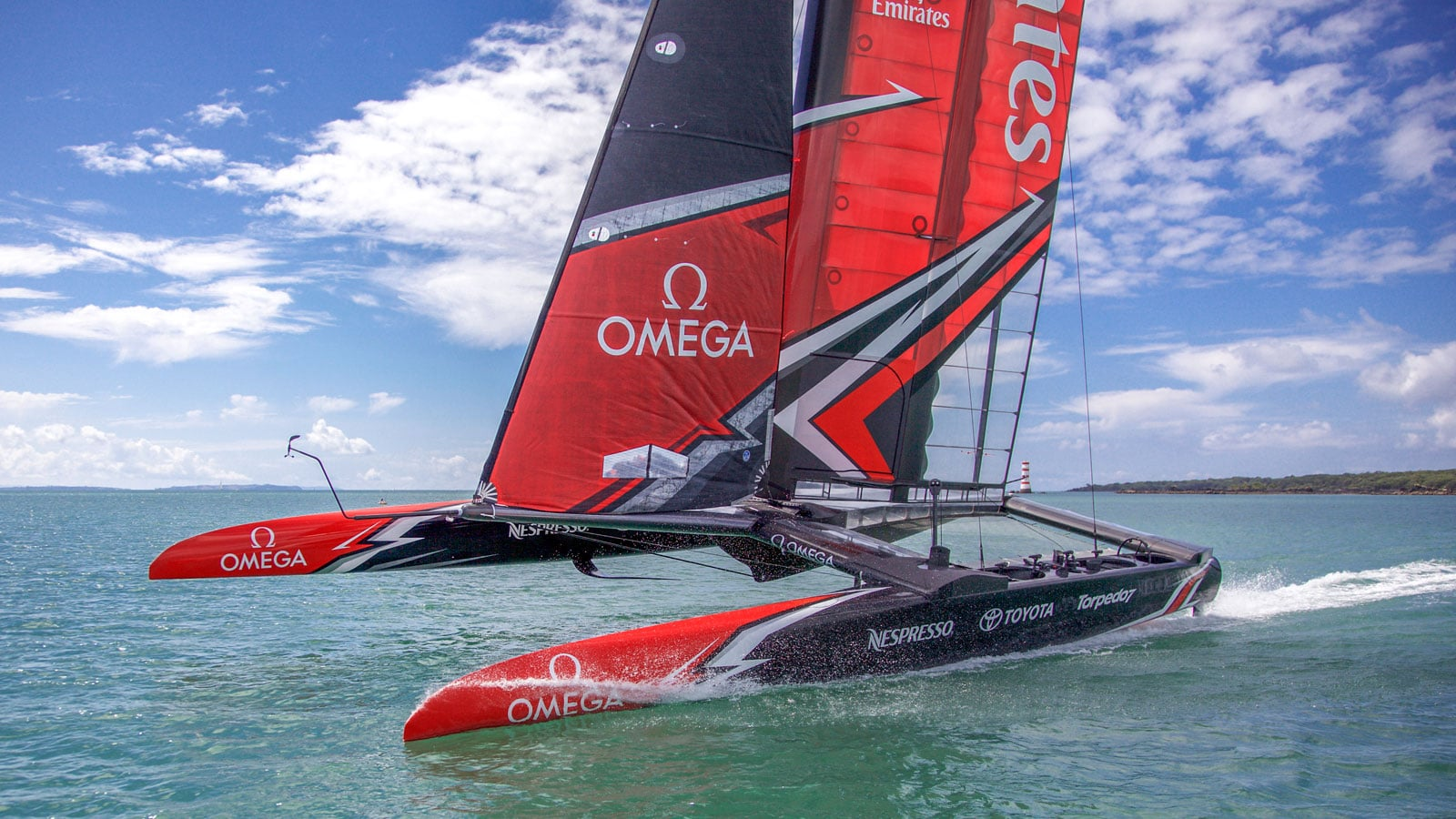 The boat of Emirates Team New Zealand sponsored by Omega