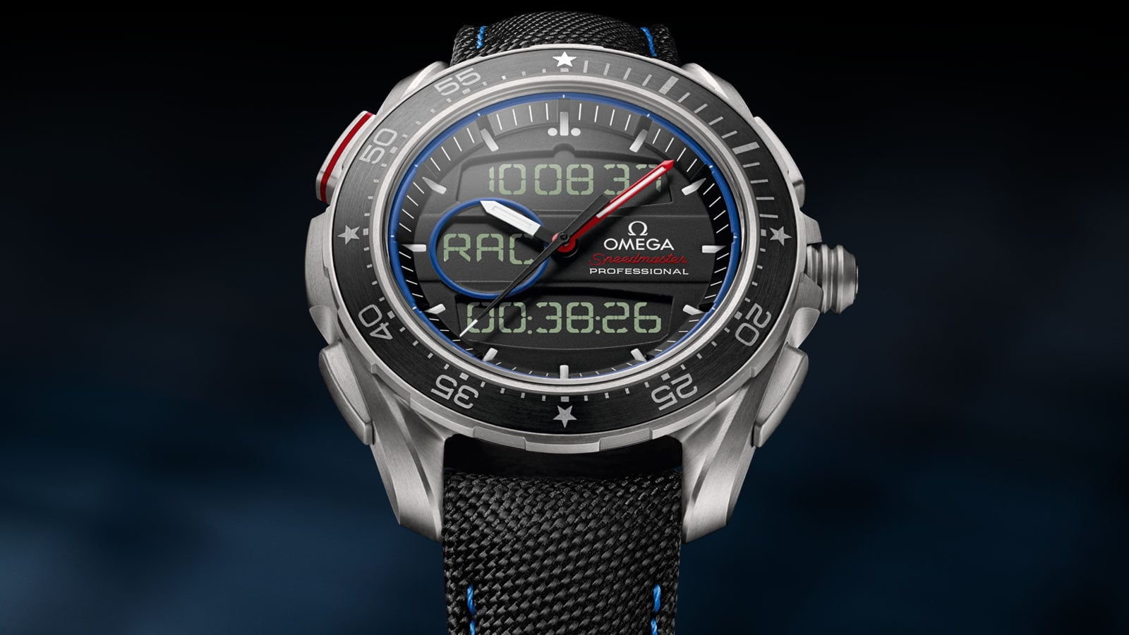Front view of the Speedmaster X-33 Regatta watch with its titanium case