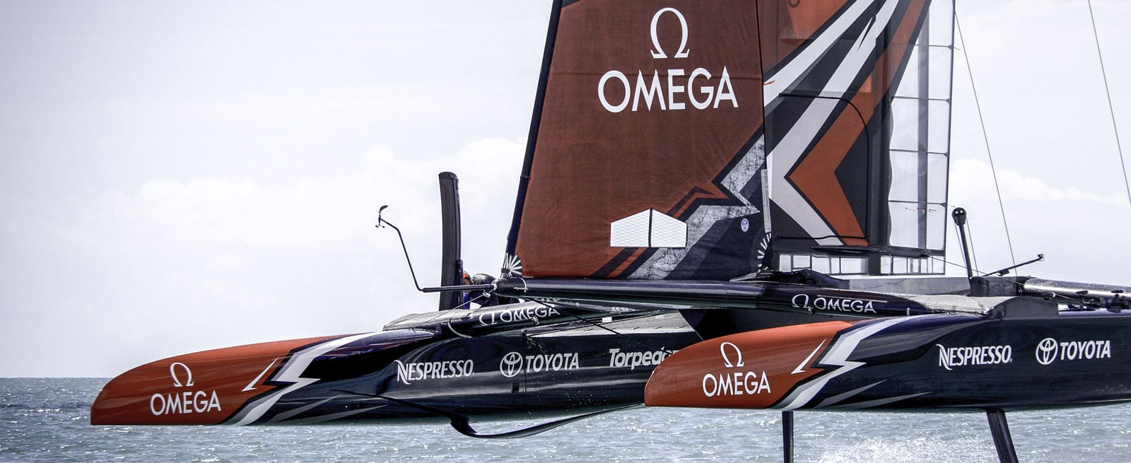 The catamaran of the Emirates Team New Zealand, sponsored by Omega