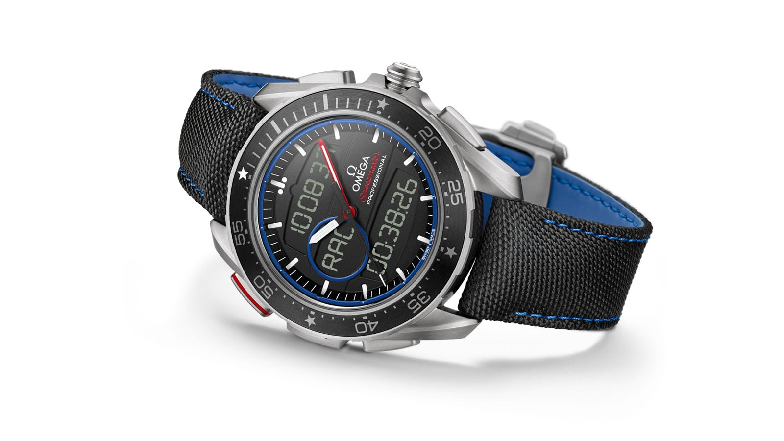 Speedmaster X-33 Regatta watch with a black bezel and dial and black and blue strap