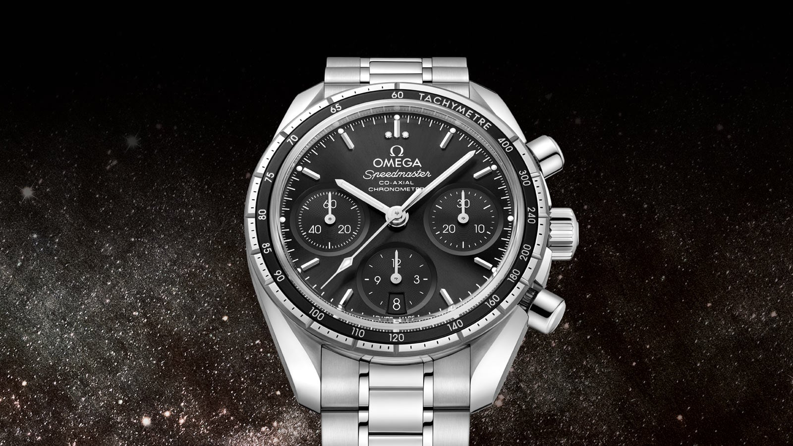 Speedmaster 38mm watch with a black dial and round subdials