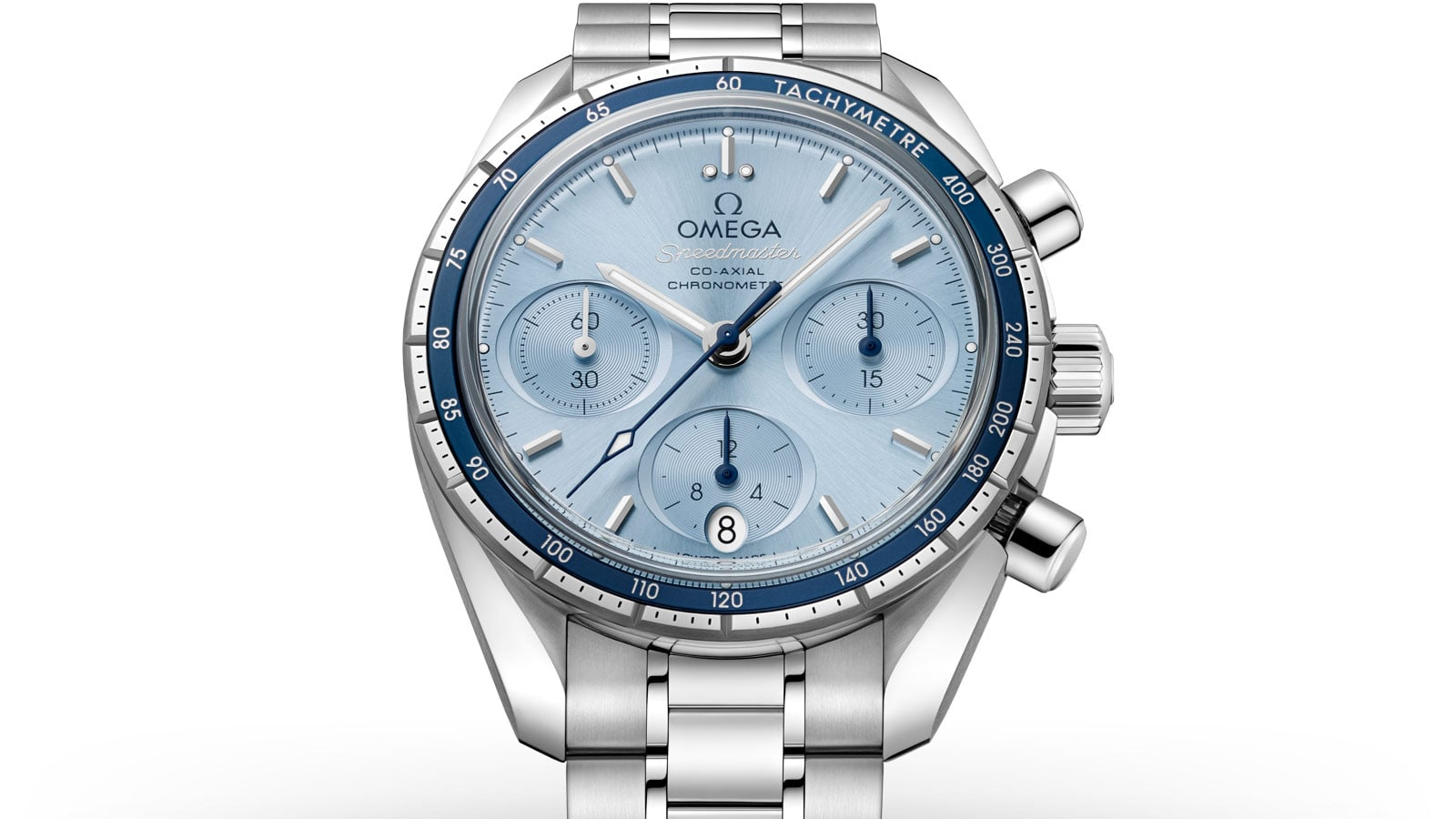 Closeup of the Speedmaster 38mm watch in stainless steel with a light blue dial and dark blue bezel
