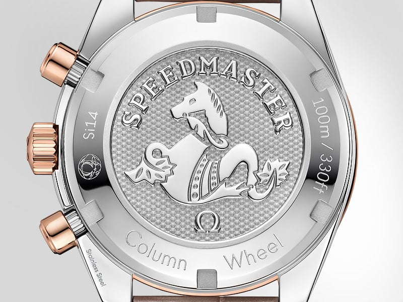 Caseback of a Speedmaster 38mm watch with and engraved seahorse