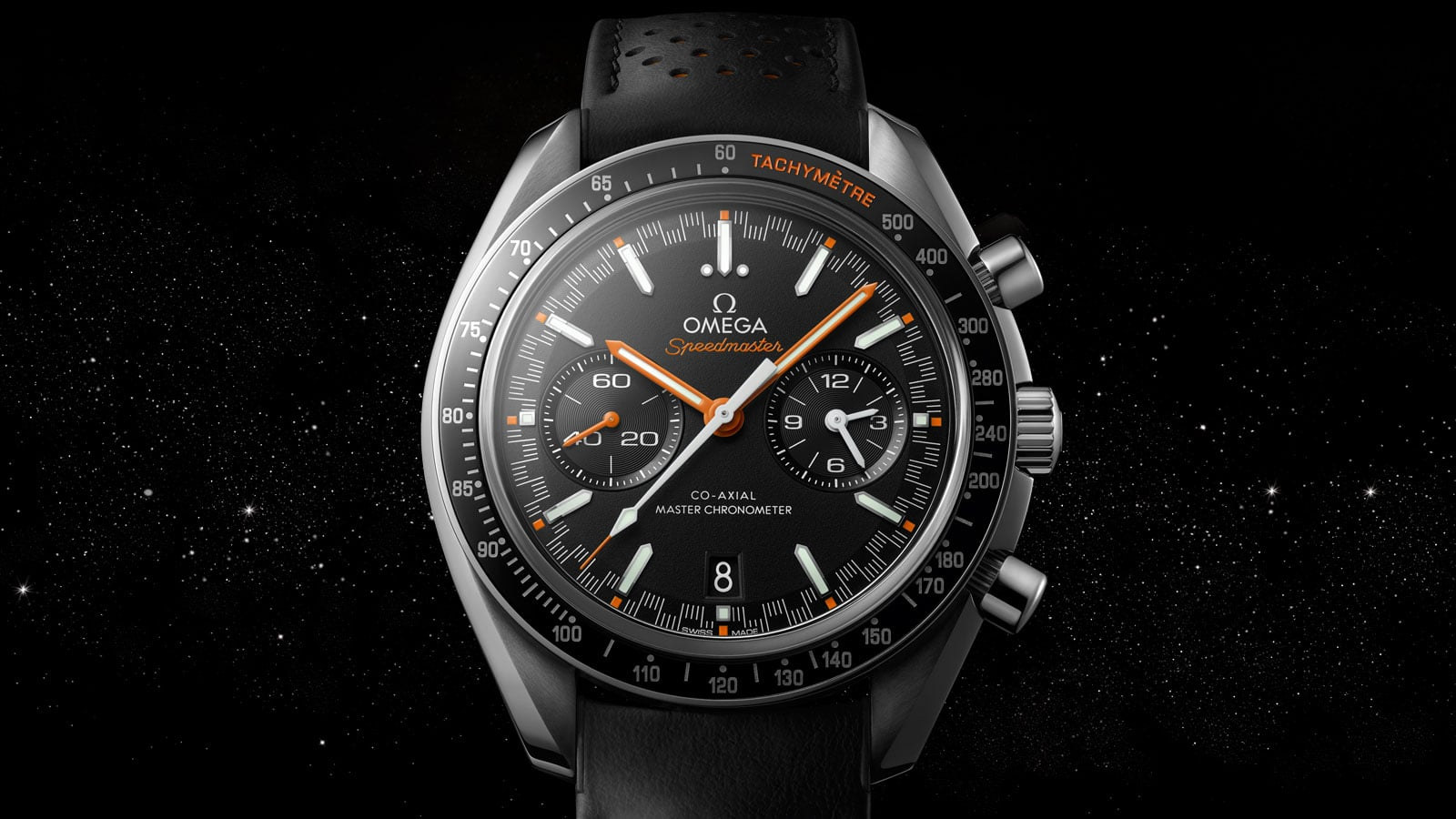 Close-up view of the SPEEDMASTER RACING MASTER CHRONOMETER 44.25 millimeters steel case with black dial
