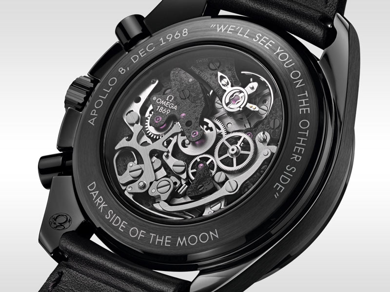 """Transparent caseback of the Apollo 8 watch with the engraved phrase """"We'll see you on the other side"""""""