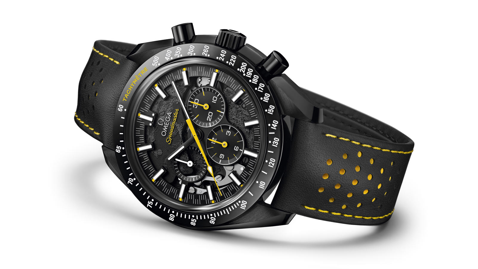 All black Speedmaster Dark SIde of Moon Apollo 8 with yellow accents