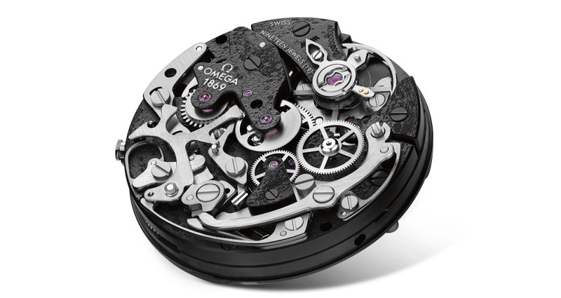 Back view of the calibre powering the Apollo 8 watch, representing the dark side of the Moon