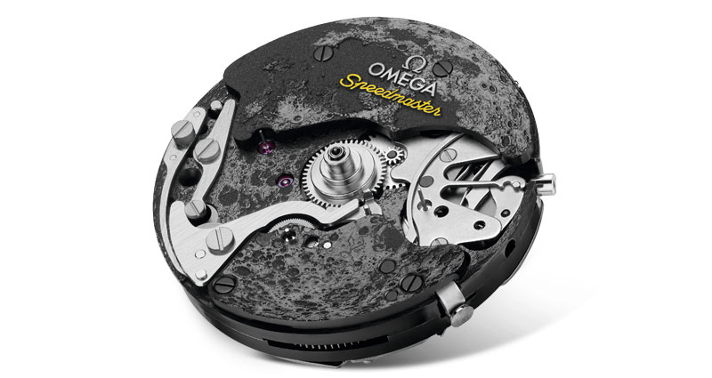 Front view of the Caliber powering the Apollo 8 watch, representing the Moon