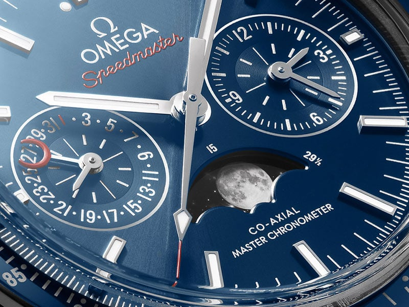 Close-up view of a blue Omega Moonwatch Moonphase Dial