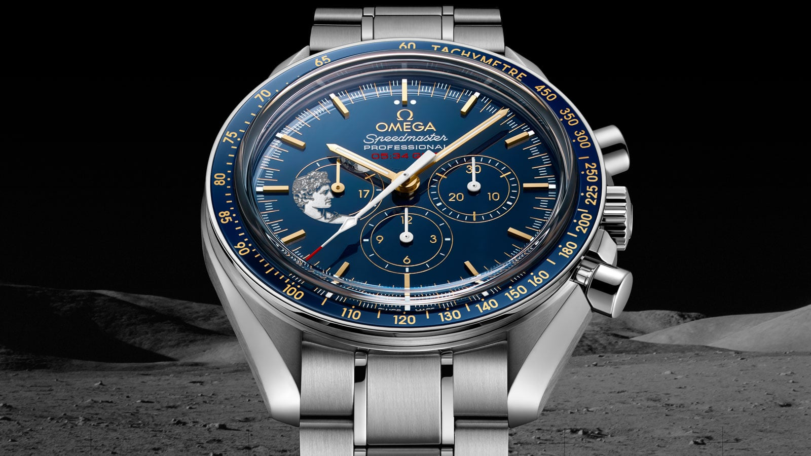 Close-up view of the OMEGA SPEEDMASTER APOLLO 17 45TH ANNIVERSARY LIMITED EDITION stainless steel model