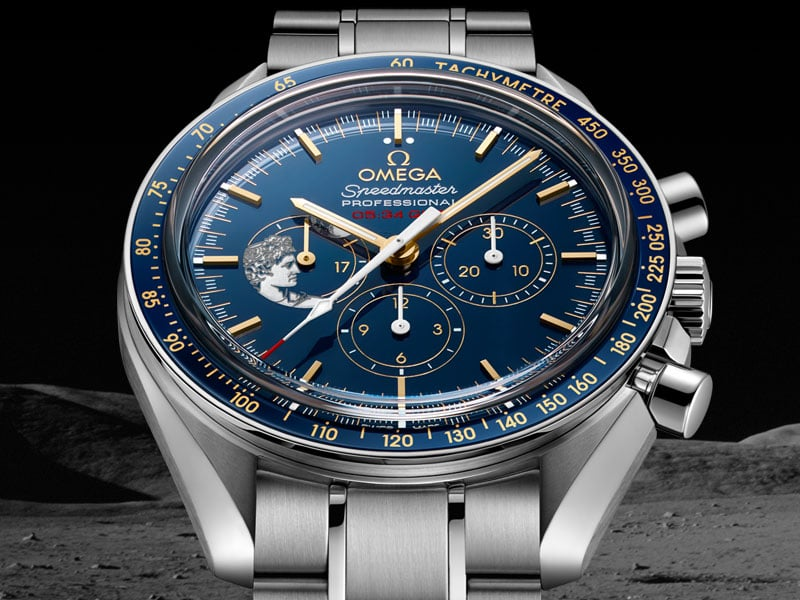 Omega Speedmaster APOLLO 17 45TH ANNIVERSARY LIMITED EDITIONS with blue dial and a steel case