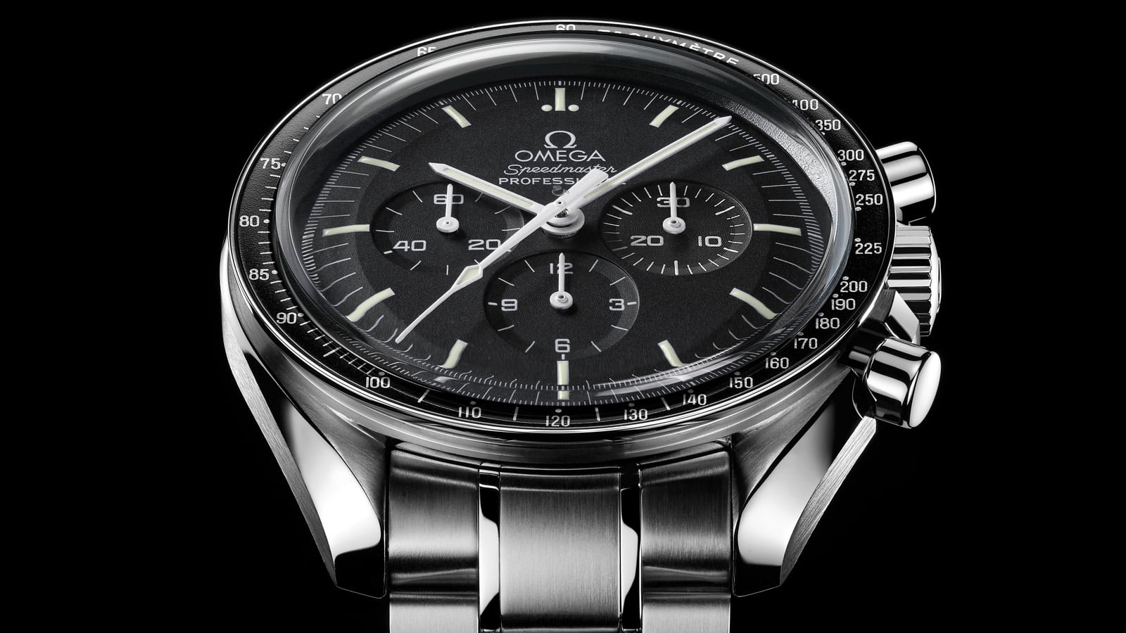 Close-up view of an Omega Speedmaster Professional Chronograph known as Moonwatch
