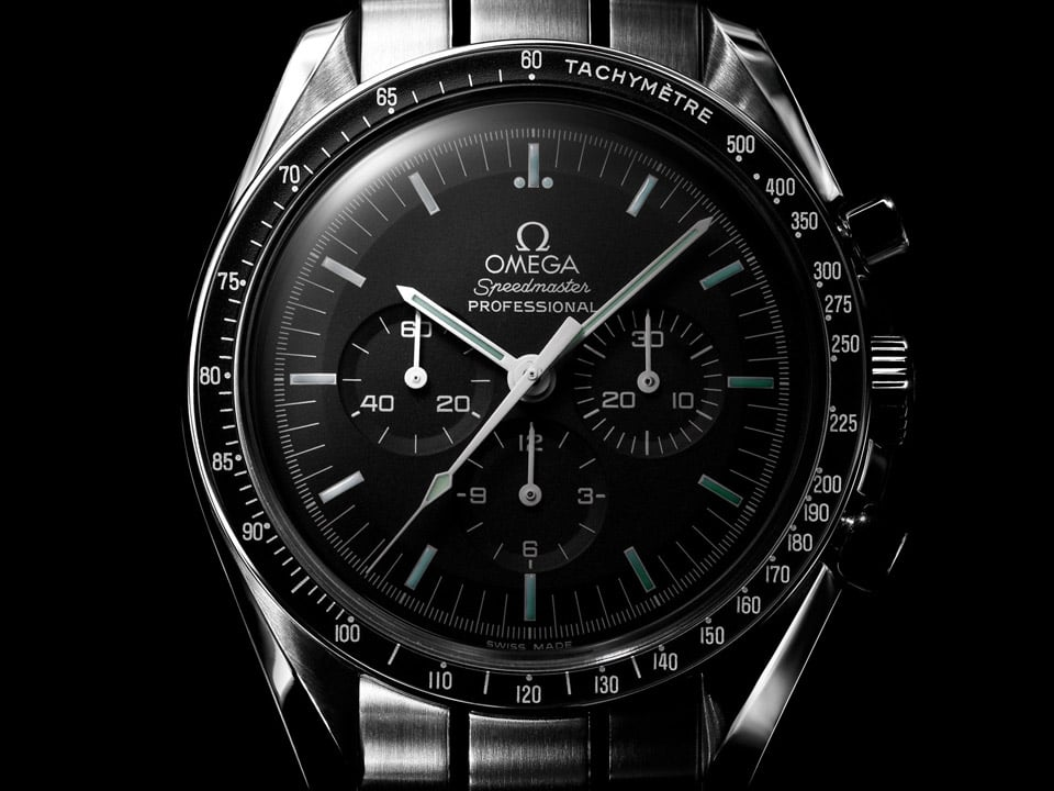 Front view of the Omega SPEEDMASTER PROFESSIONAL MOONWATCH black dial with hesalite crystal