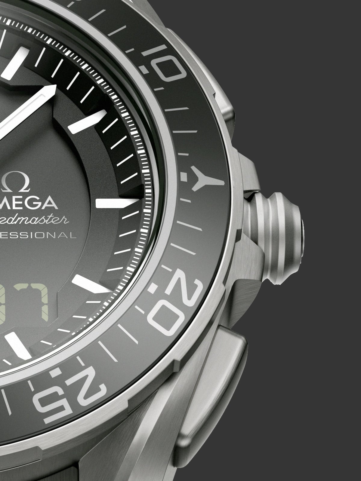 Close-up view of the Omega SPEEDMASTER SKYWALKER X-33 titanium bezel with a chromium scale