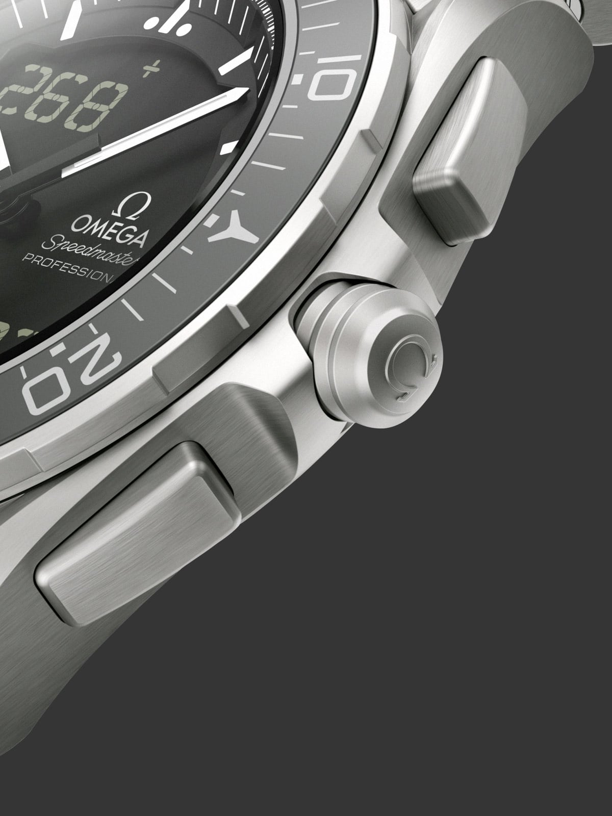 Close-up view of the Omega SPEEDMASTER SKYWALKER X-33 titanium case with its brushed crown and buttons