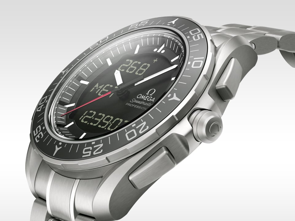 Three-quarters view of the Omega Speedmaster SKYWALKER X-33 titanium case and black dial