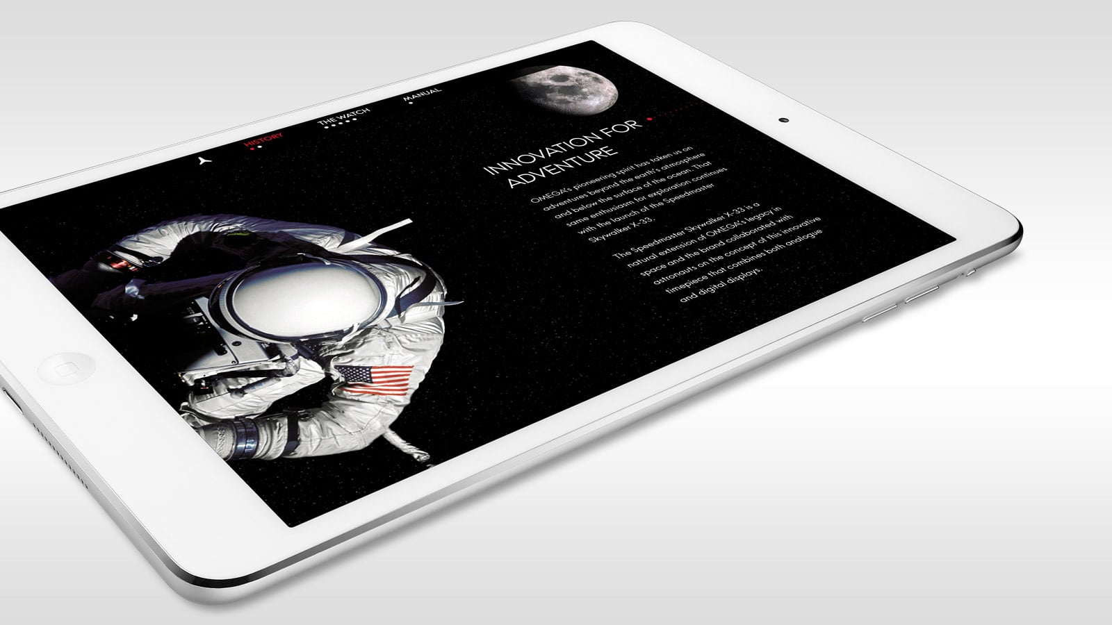 Picture of a white 8 inches Ipad with the Omega Speedmaster Skywalker X-33 application launched