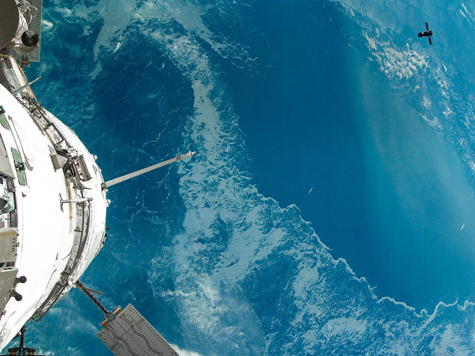View of an ocean taken from the International Space Station