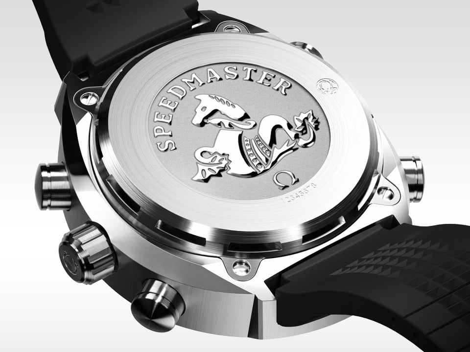 Titanium Caseback of the OMEGA SPACEMASTER Z 33 with the text Speedmaster and the Omega seahorse logo embossed in the center