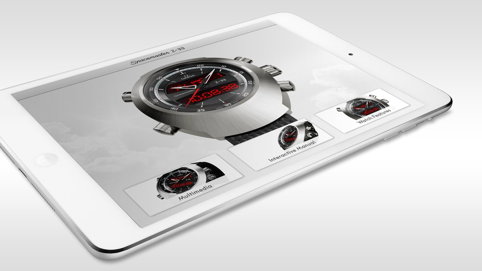 Close-up view of an 8 inches white Ipad with the application for the Omega Spacemaster Z 33 launched