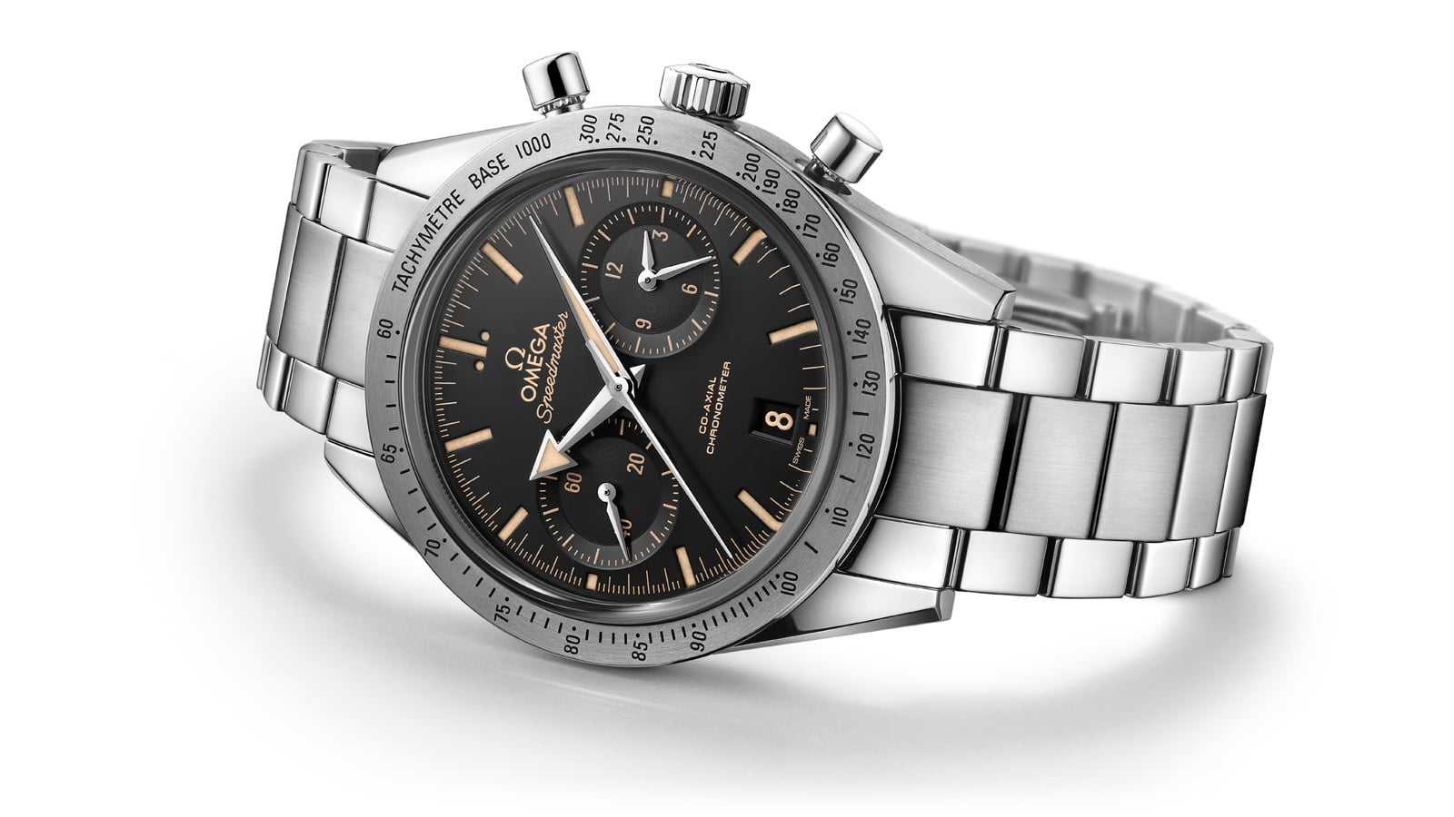 Omega Speedmaster '57 watch with a stainless steel case and bracelet and a black dial