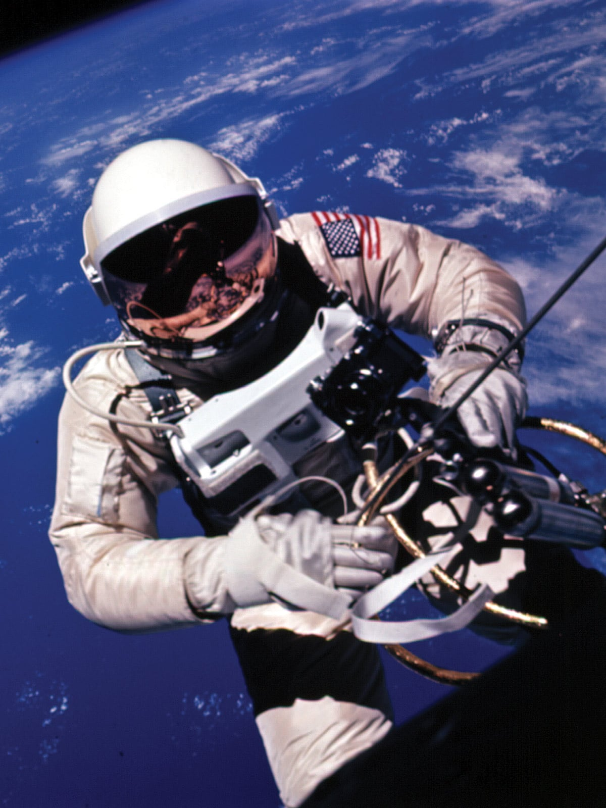 Edward White and his Speedmaster watch on Gemini 4 mission