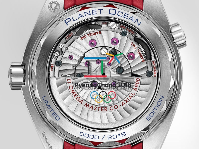 "Caseback of the ""Pyeongchang 2018"" watch by Omega with view on the movement"