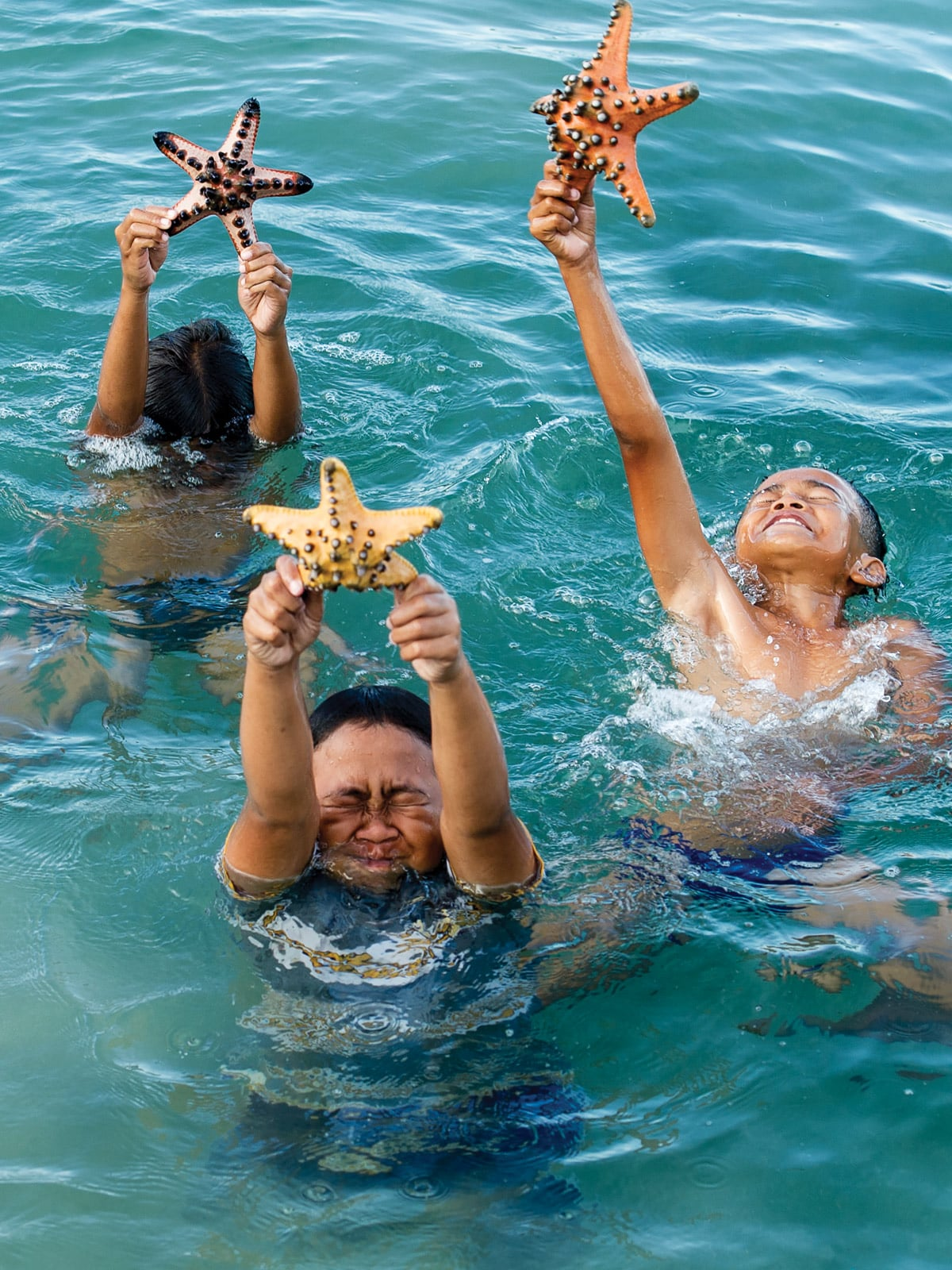 3 swimmers holding each a starfish