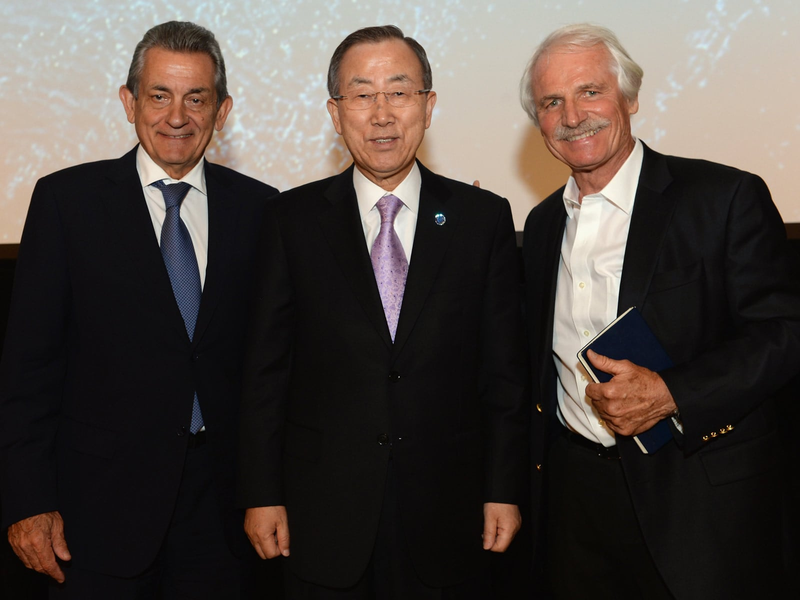 Stephen Urquhart, Ban Ki-Moon and Yann Arthus-Bertrand