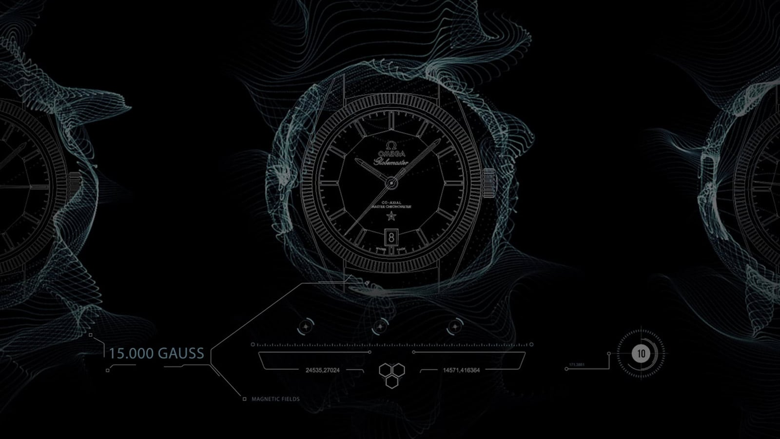 Illustration of a watch being surrounded by a magnetic field