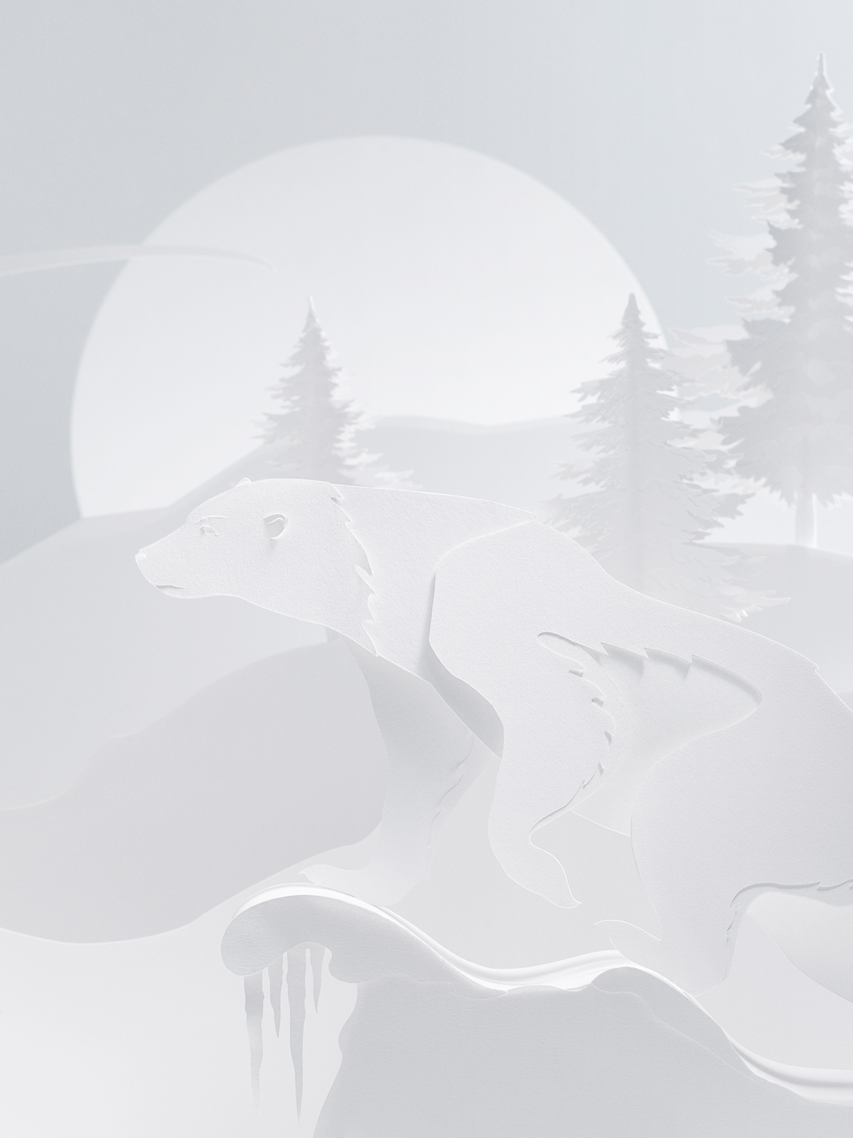 White paper cut scenery consisting of a polar bear