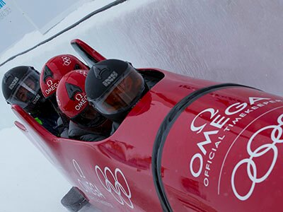 Omega celibrity team during a bobsleigh run