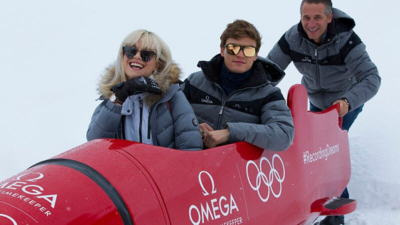 Pixie Lott, Oliver Cheshire & Raynald Aeschlimann in a  bobsleigh at the Olympic Winter Games in PyeongChang