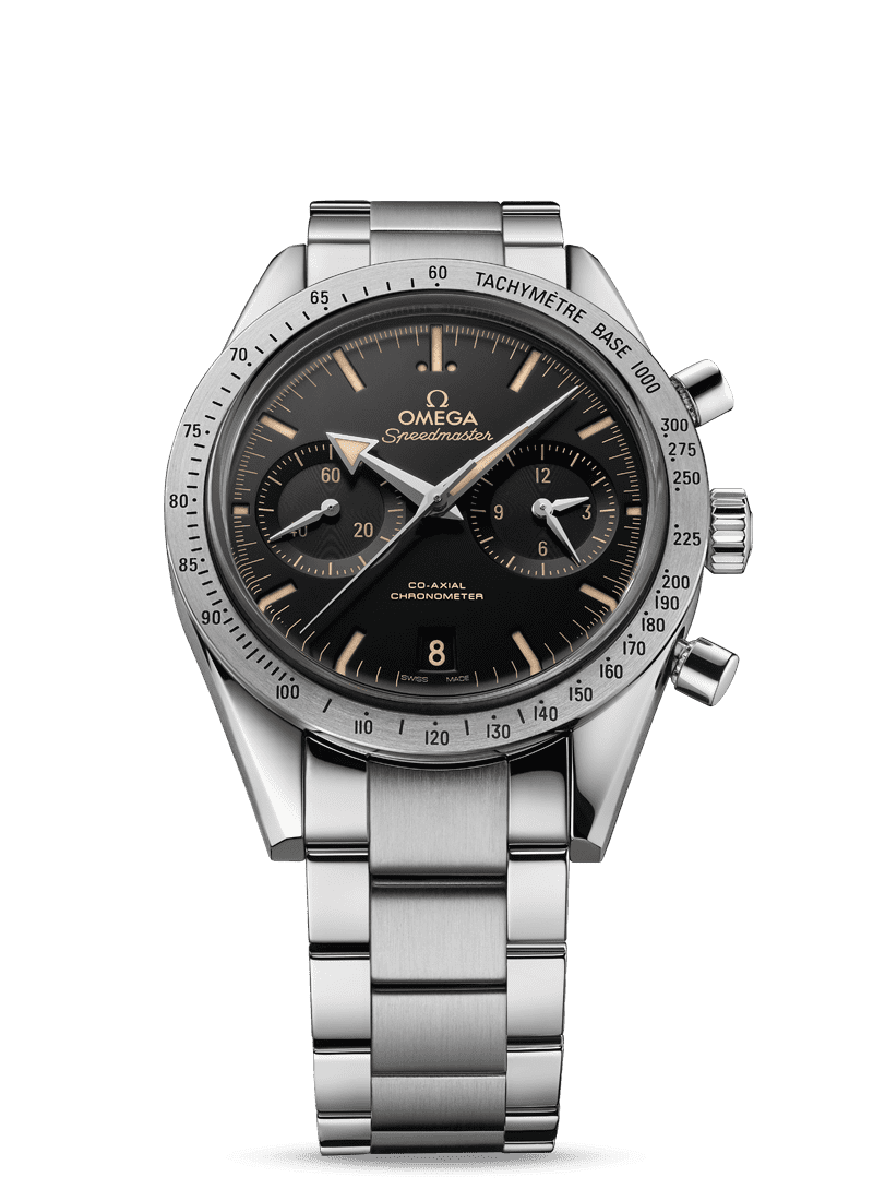 2015 modernized version of the Speedmaster '57 in stainless steel with a black dial