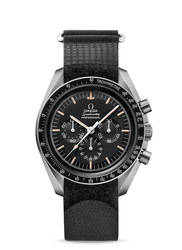 Omega Speedmaster Alaska III 1978 model with steel case black dial and black fabric strap